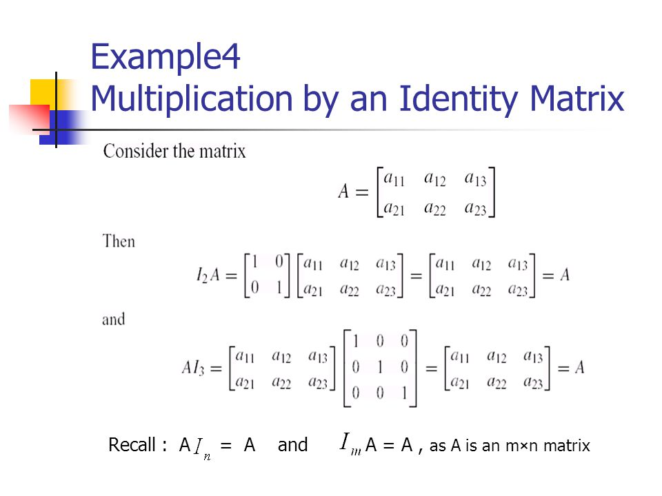 Example4 Multiplication by an Identity Matrix