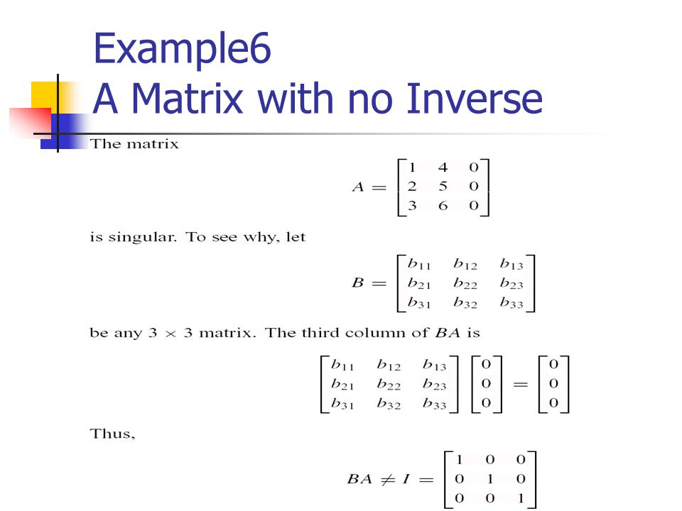 Example6 A Matrix with no Inverse