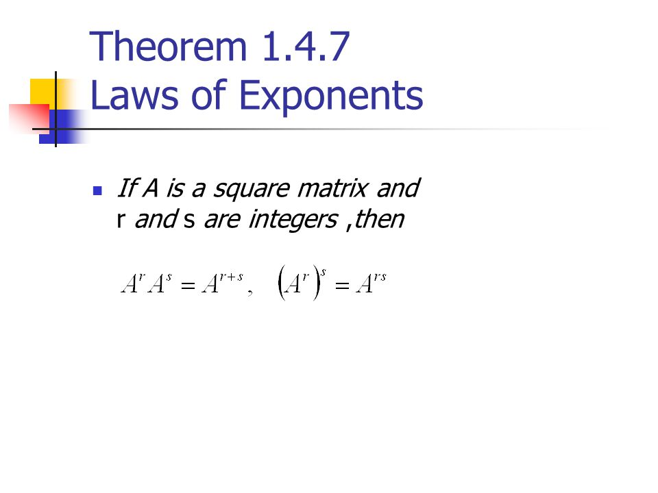 Theorem 1.4.7 Laws of Exponents
