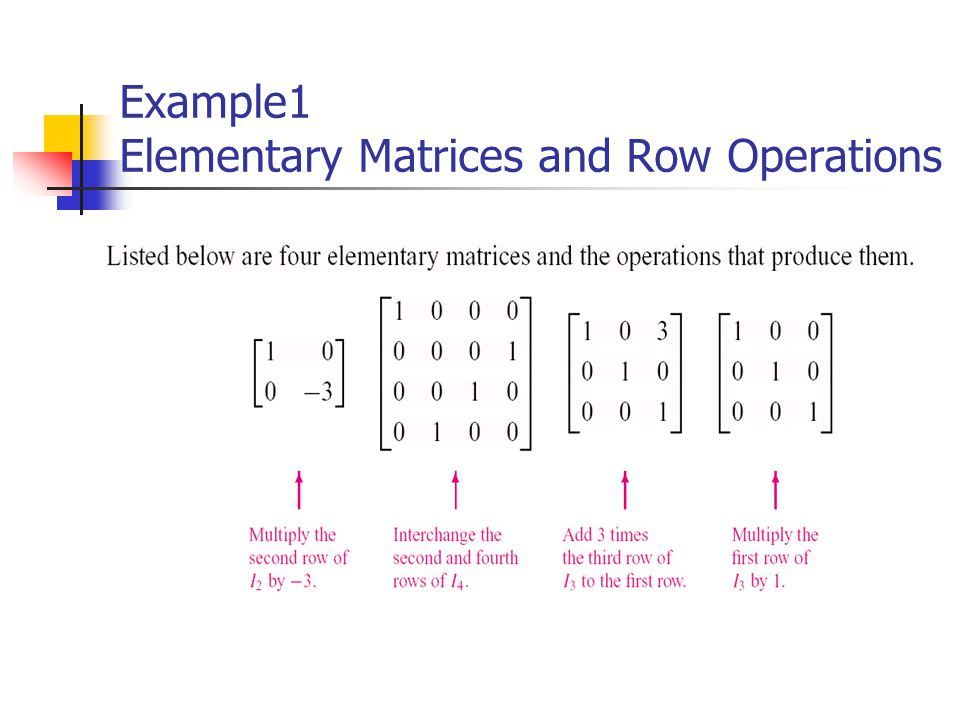 Example1 Elementary Matrices and Row Operations
