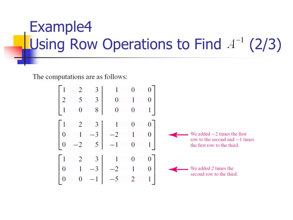 Example4 Using Row Operations to Find (2/3)