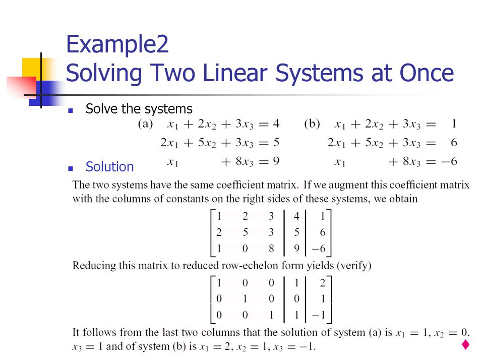 Example2 Solving Two Linear Systems at Once