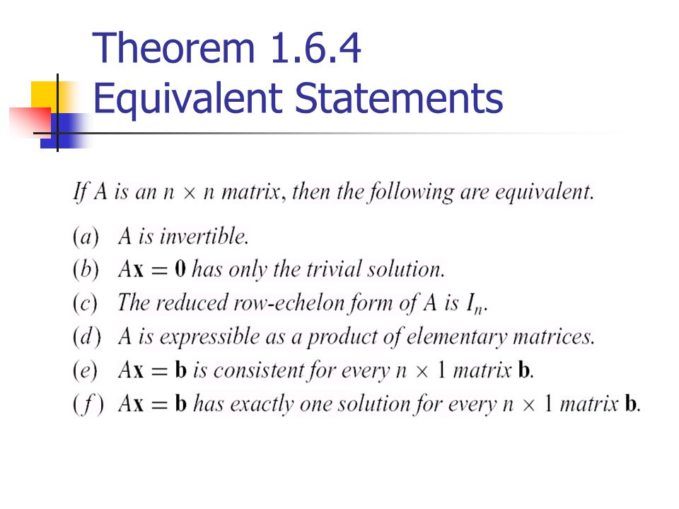 Theorem 1.6.4 Equivalent Statements