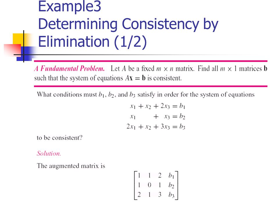Example3 Determining Consistency by Elimination (1/2)