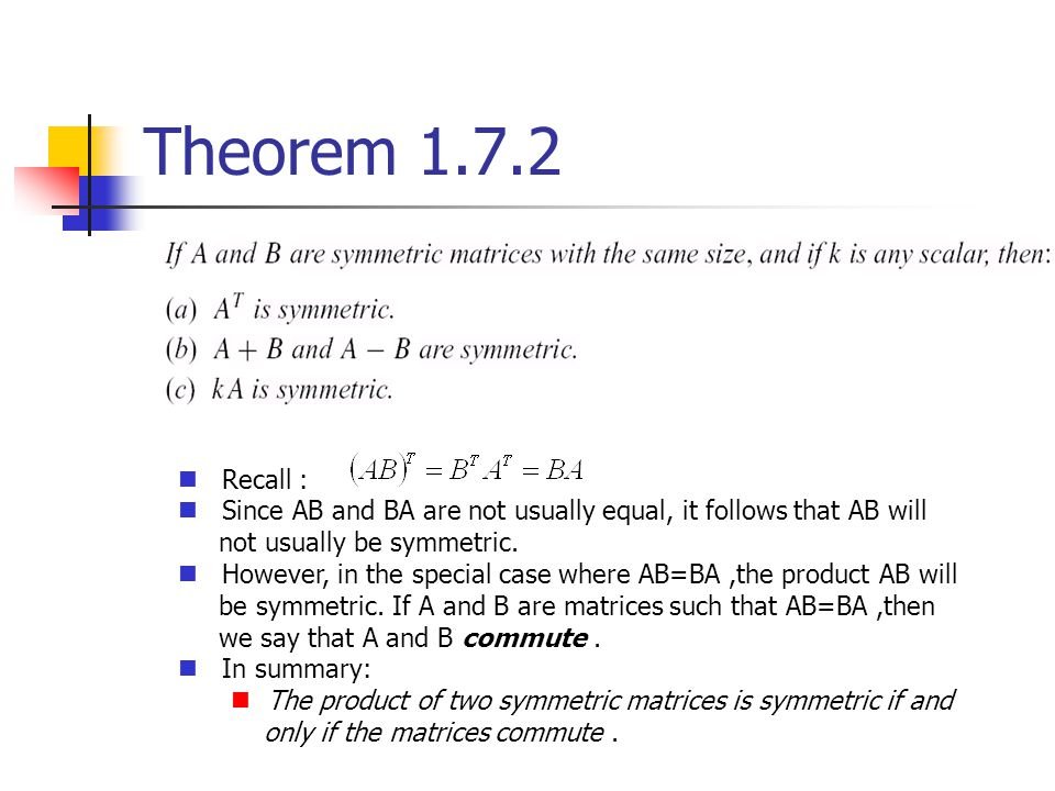 Theorem 1.7.2 Recall : Since AB and BA are not usually equal, it follows that AB will. not usually be symmetric.