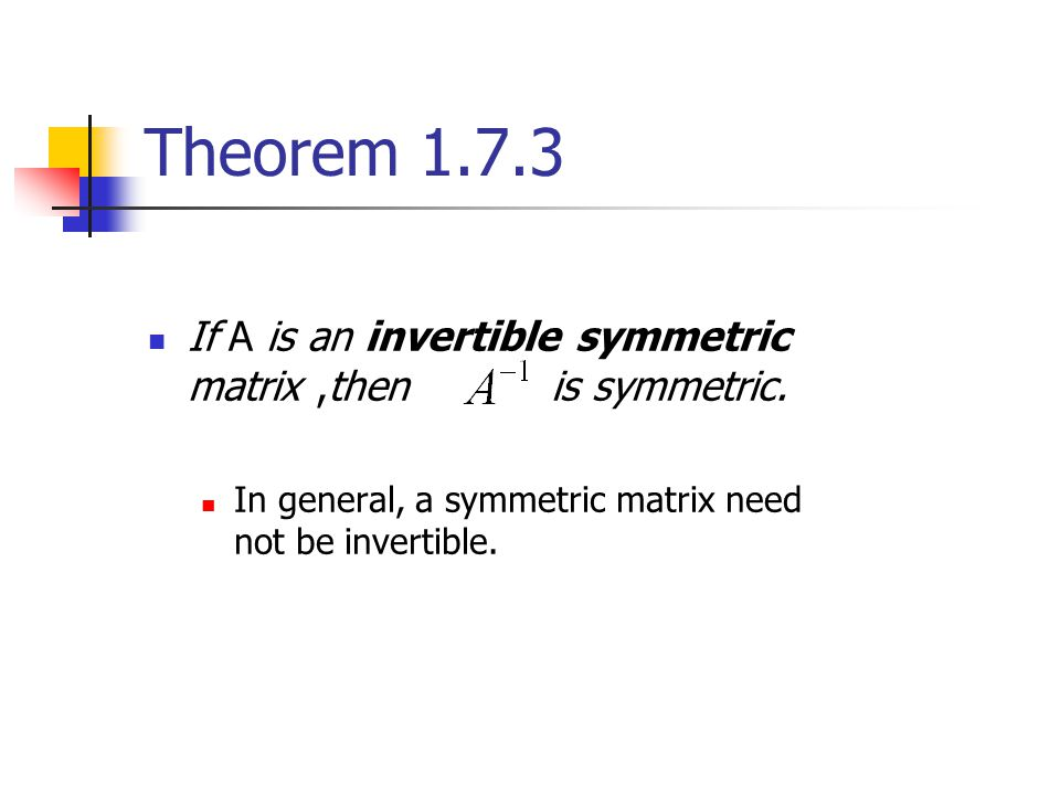Theorem 1.7.3 If A is an invertible symmetric matrix ,then is symmetric.
