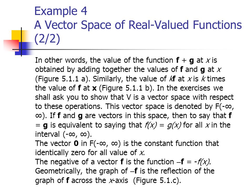 Example 4 A Vector Space of Real-Valued Functions (2/2)