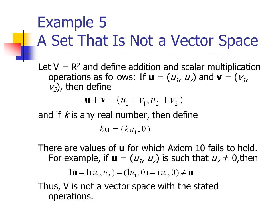 Vector space axioms examples