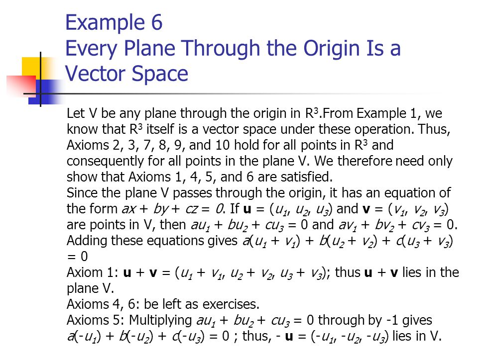 Example 6 Every Plane Through the Origin Is a Vector Space