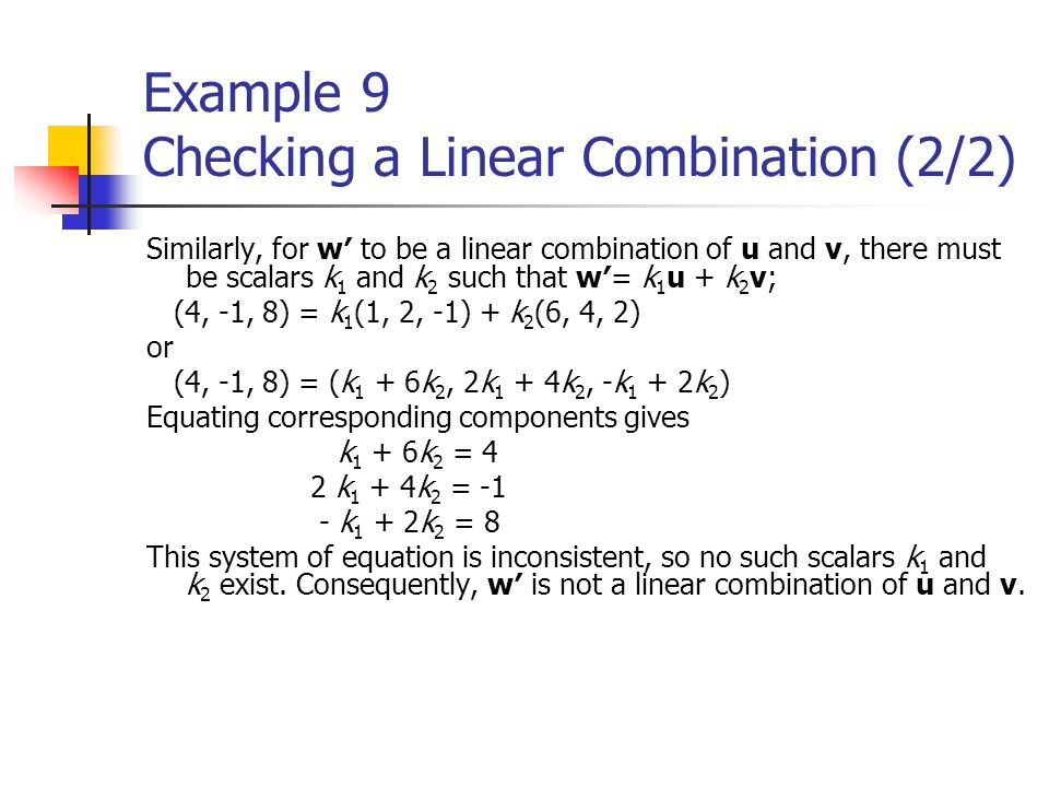 Example 9 Checking a Linear Combination (2/2)