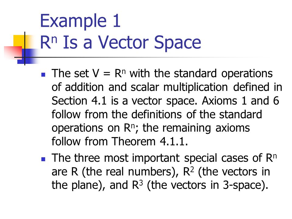 Example 1 Rn Is a Vector Space