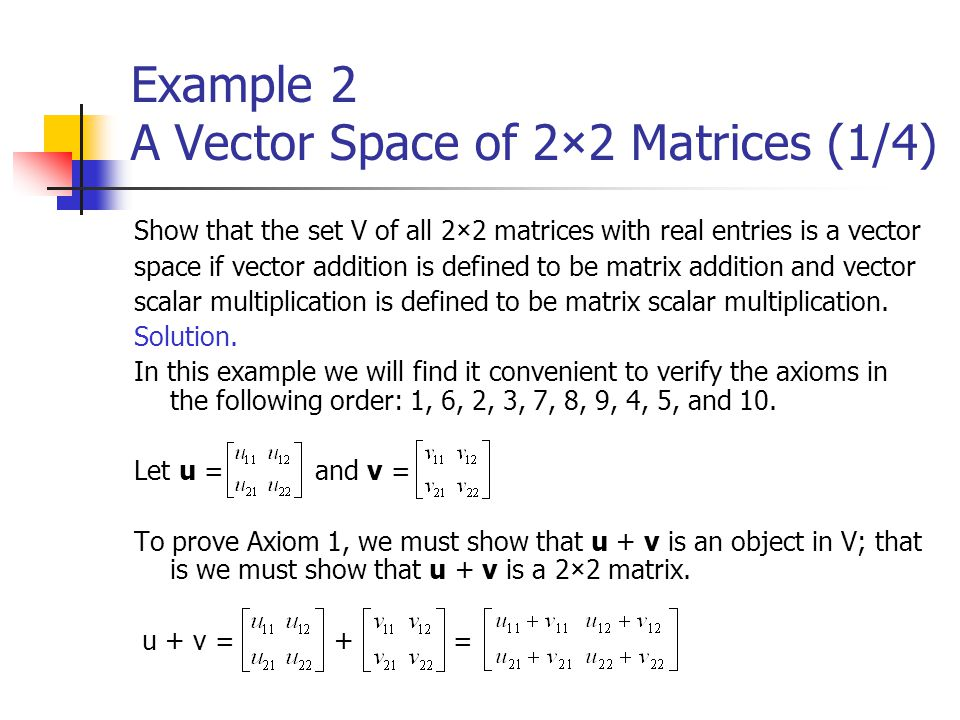 Example 2 A Vector Space of 2×2 Matrices (1/4)
