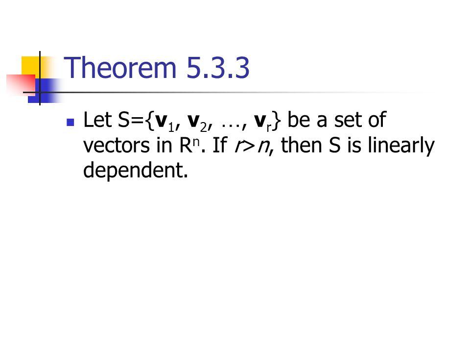 Theorem 5.3.3 Let S={v1, v2, …, vr} be a set of vectors in Rn.