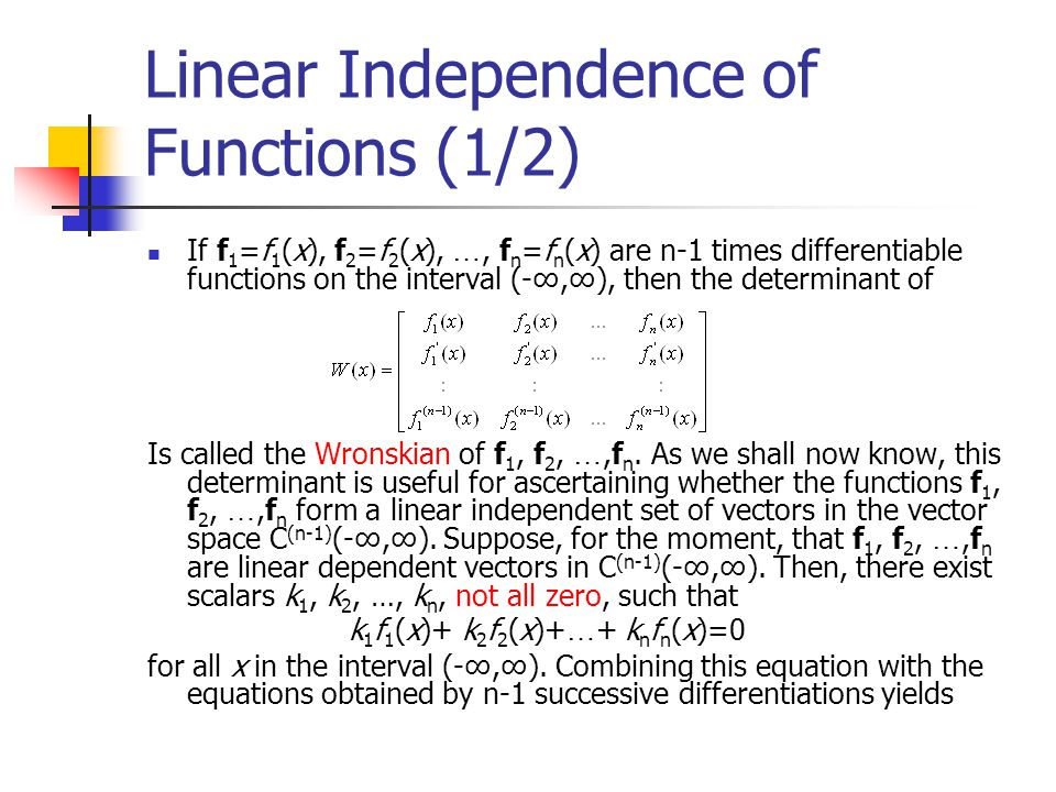 Linear Independence of Functions (1/2)
