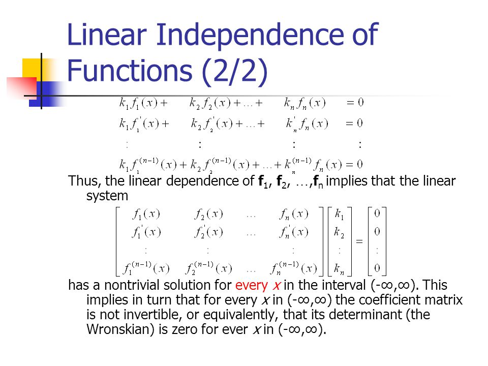 Linear Independence of Functions (2/2)