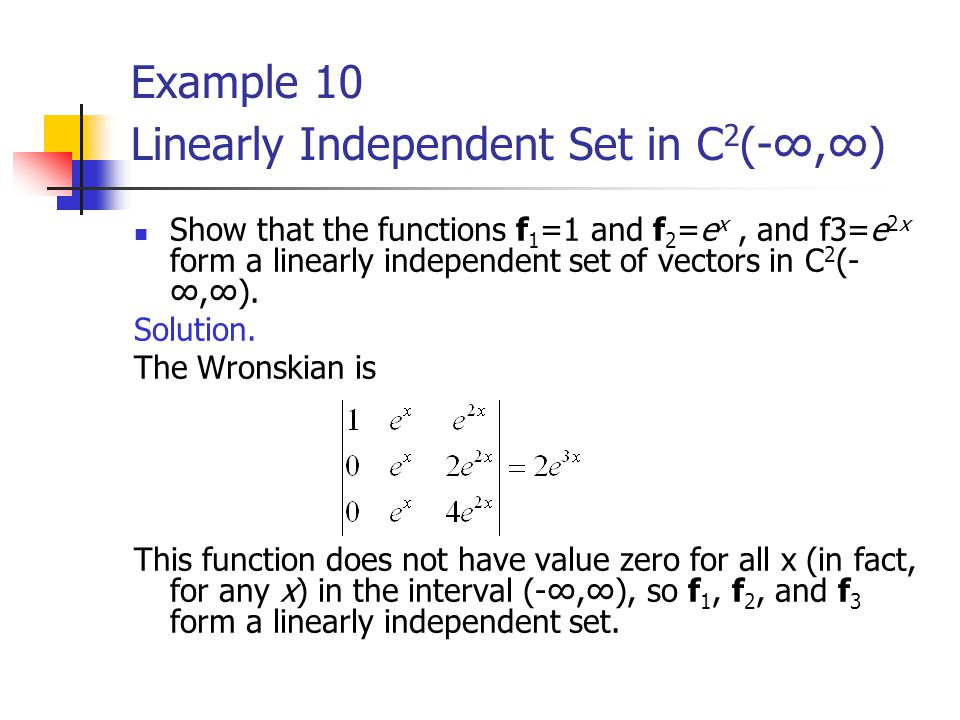 Example 10 Linearly Independent Set in C2(-∞,∞)