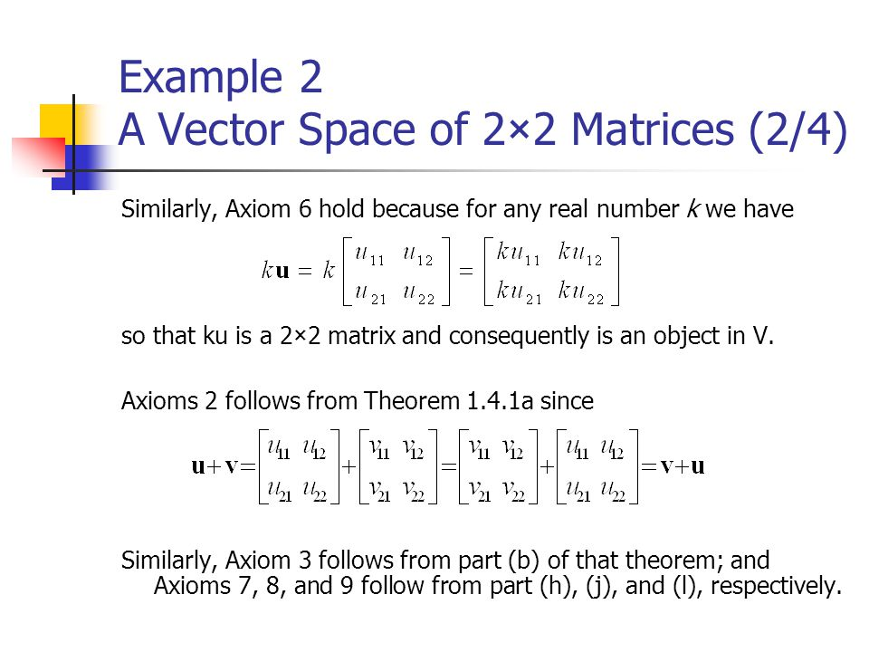 Example 2 A Vector Space of 2×2 Matrices (2/4)