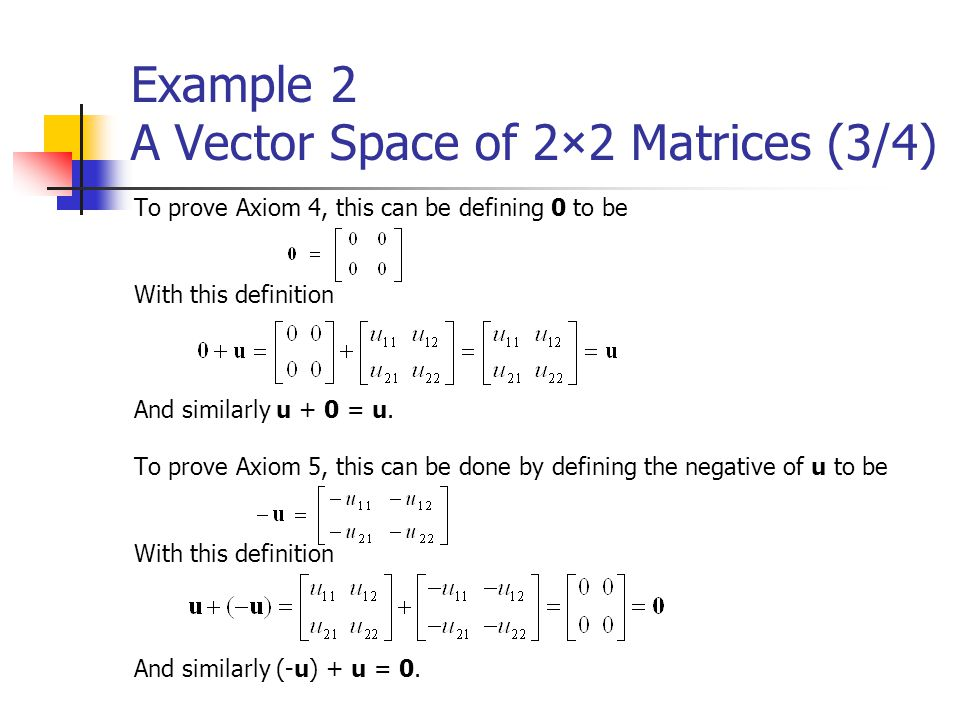 Example 2 A Vector Space of 2×2 Matrices (3/4)