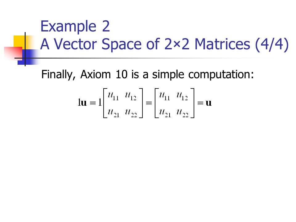 Example 2 A Vector Space of 2×2 Matrices (4/4)