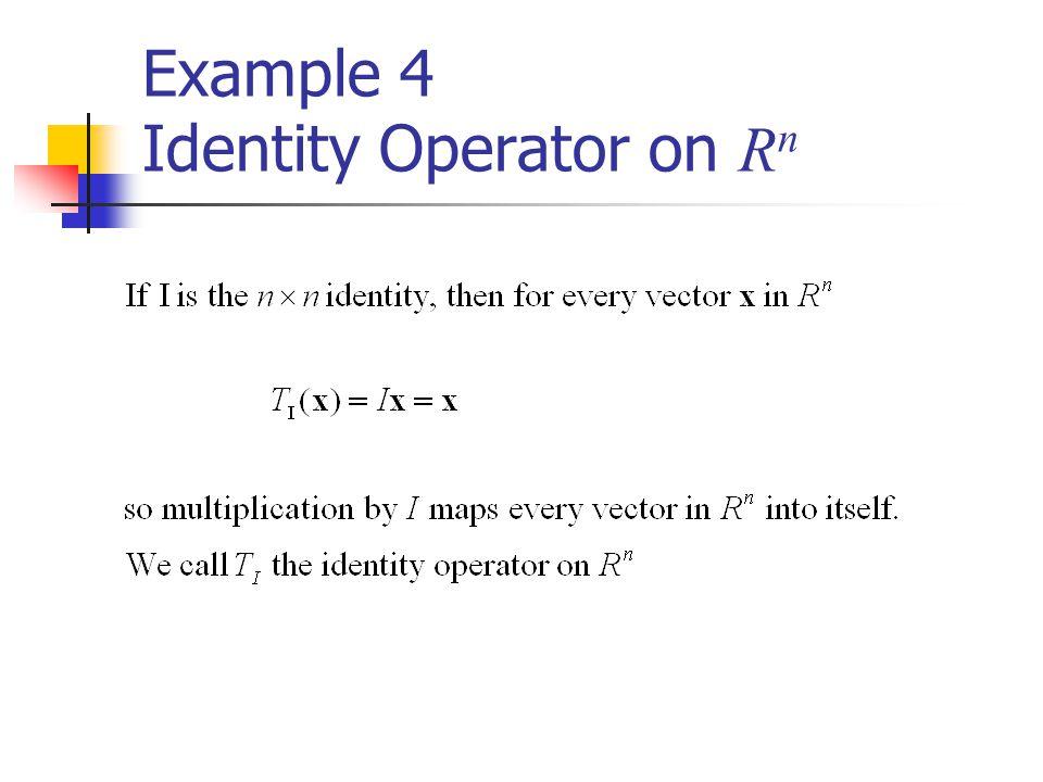 Example 4 Identity Operator on Rn