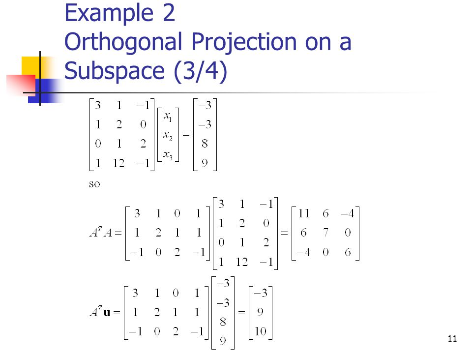 Example 2 Orthogonal Projection on a Subspace (3/4)