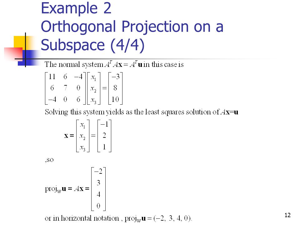 Example 2 Orthogonal Projection on a Subspace (4/4)