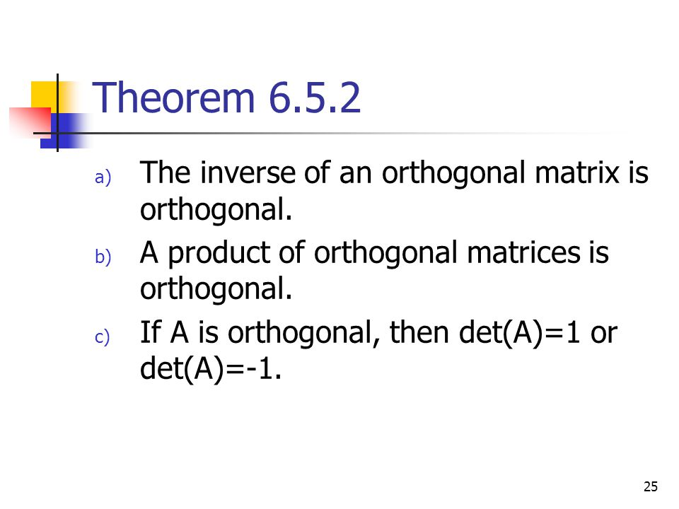 Theorem 6.5.2 The inverse of an orthogonal matrix is orthogonal.