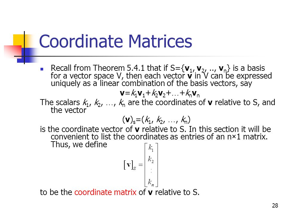 Coordinate Matrices