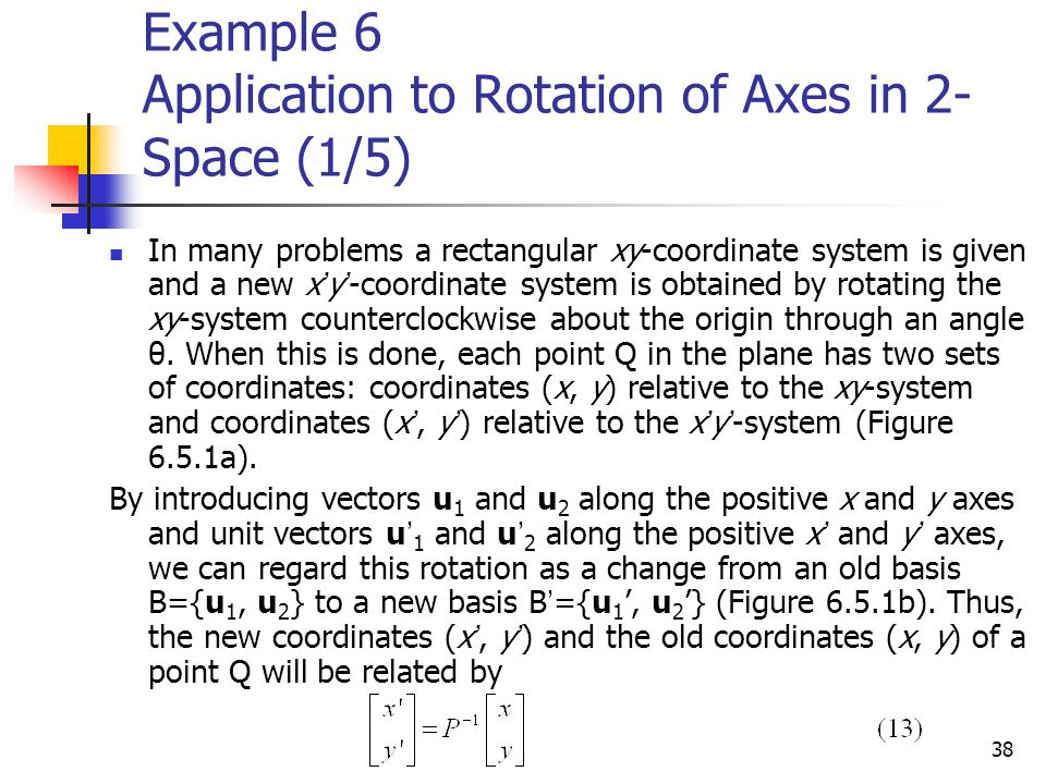 Example 6 Application to Rotation of Axes in 2-Space (1/5)