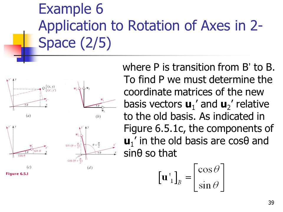 Example 6 Application to Rotation of Axes in 2-Space (2/5)