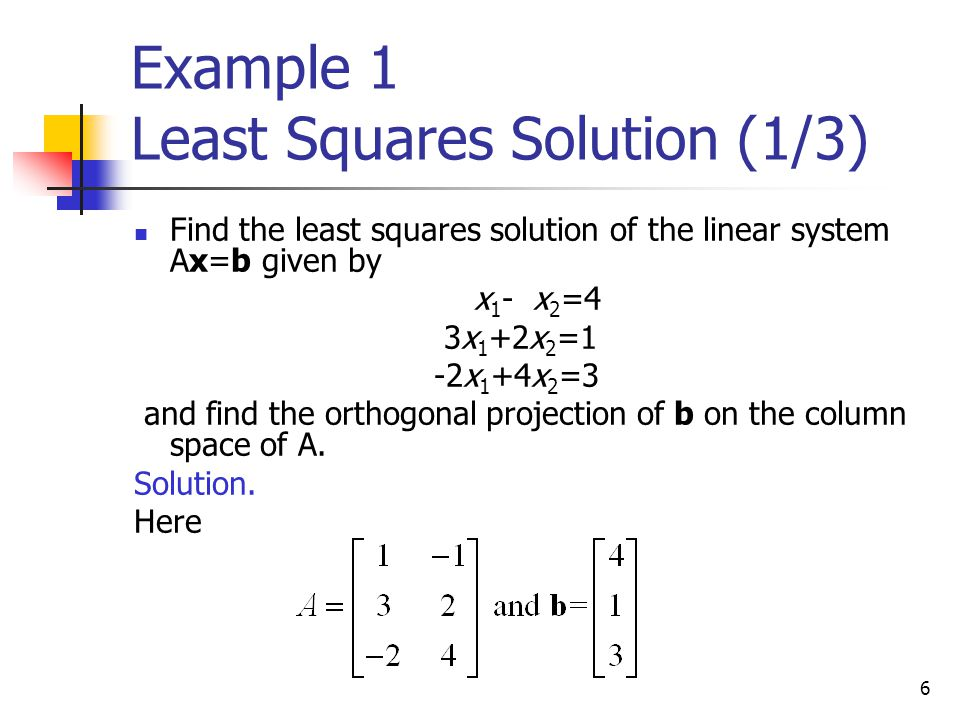 Example 1 Least Squares Solution (1/3)