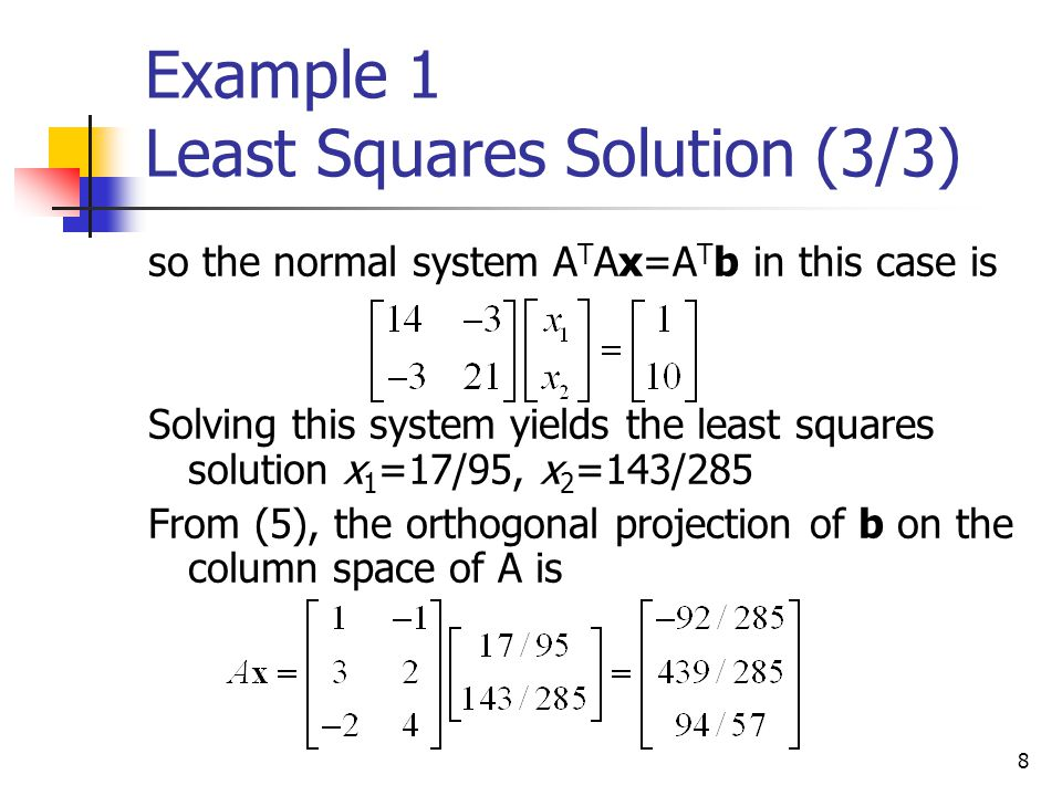 Example 1 Least Squares Solution (3/3)