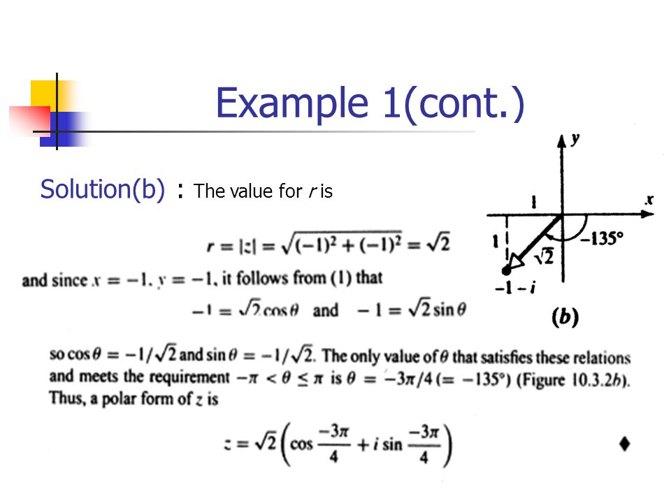 Example 1(cont.) Solution(b) : The value for r is