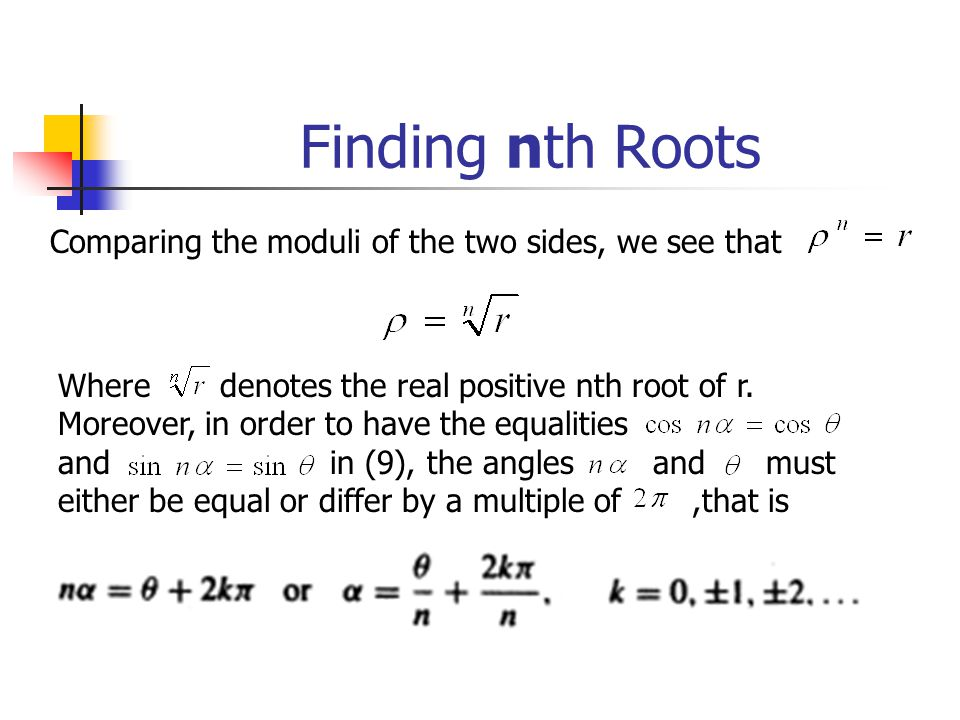 Finding nth Roots Comparing the moduli of the two sides, we see that