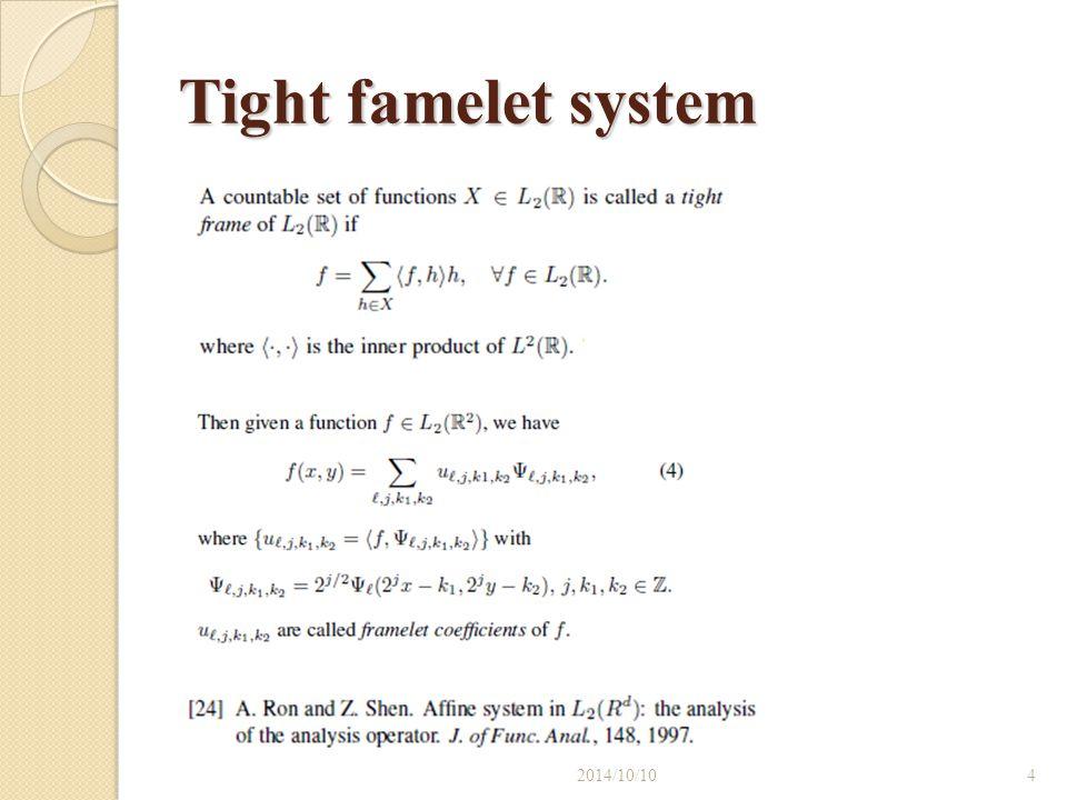 Tight famelet system 2017/4/6