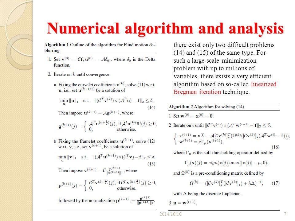 Numerical algorithm and analysis