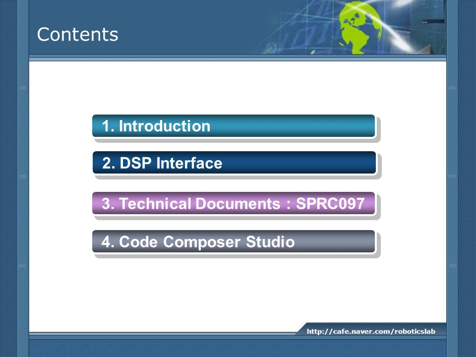 Contents 1. Introduction 2. DSP Interface
