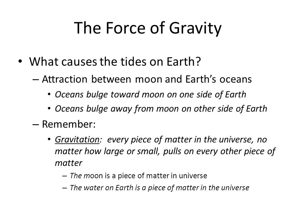 The Force of Gravity What causes the tides on Earth