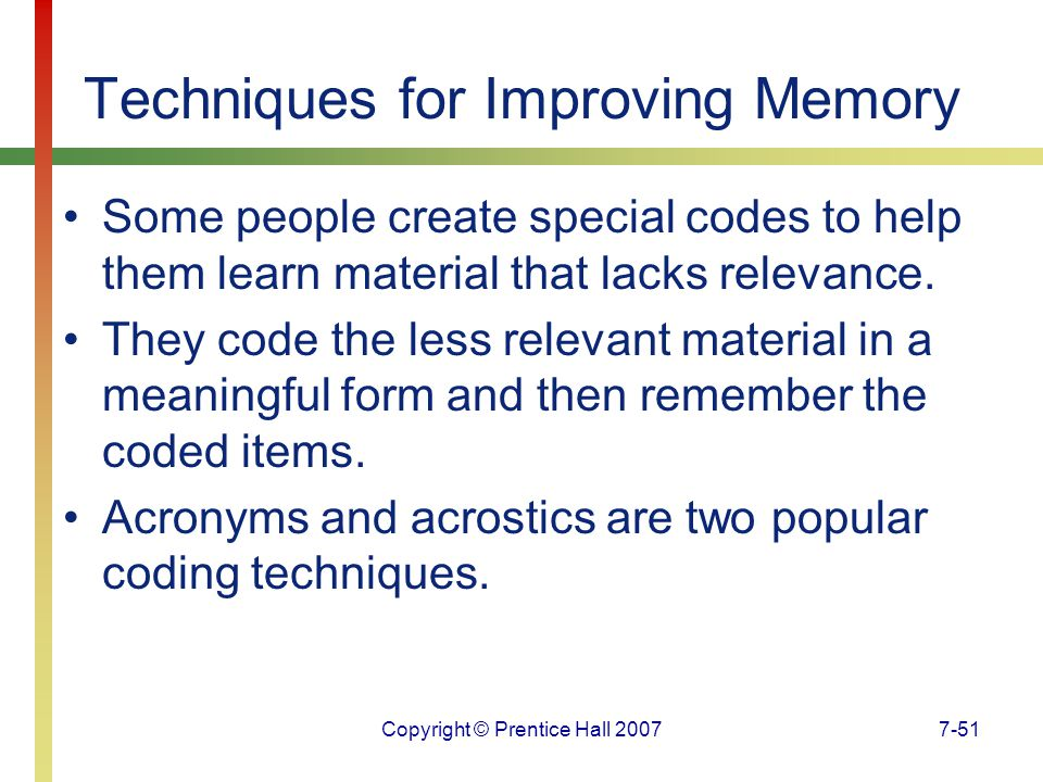 Techniques for Improving Memory