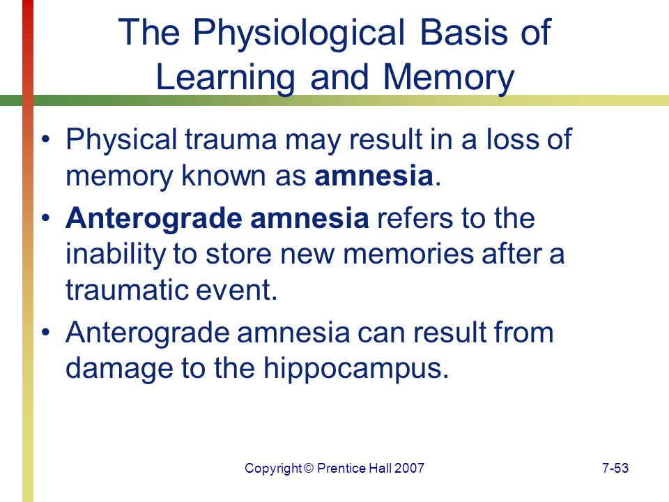 The Physiological Basis of Learning and Memory