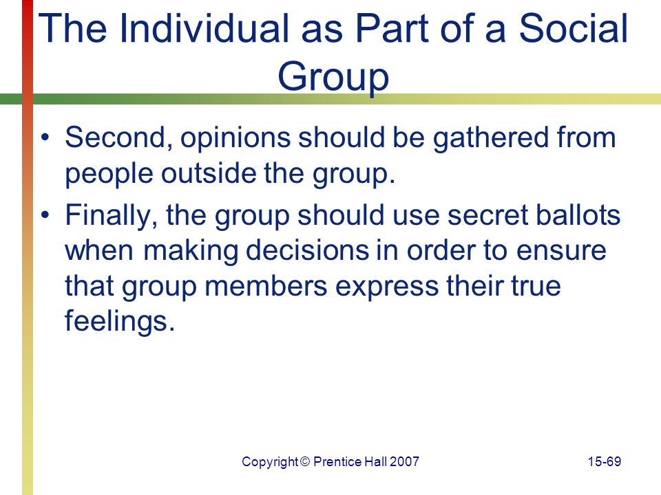 The Individual as Part of a Social Group