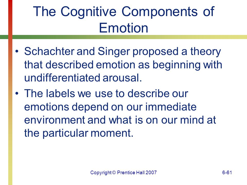 The Cognitive Components of Emotion