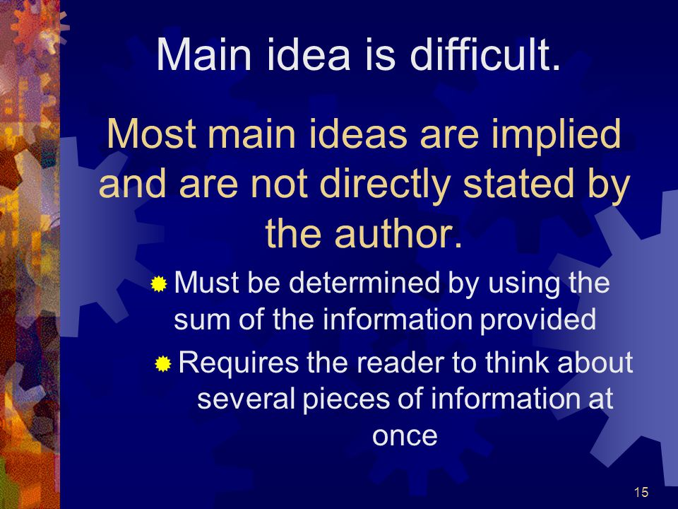 Most main ideas are implied and are not directly stated by the author.