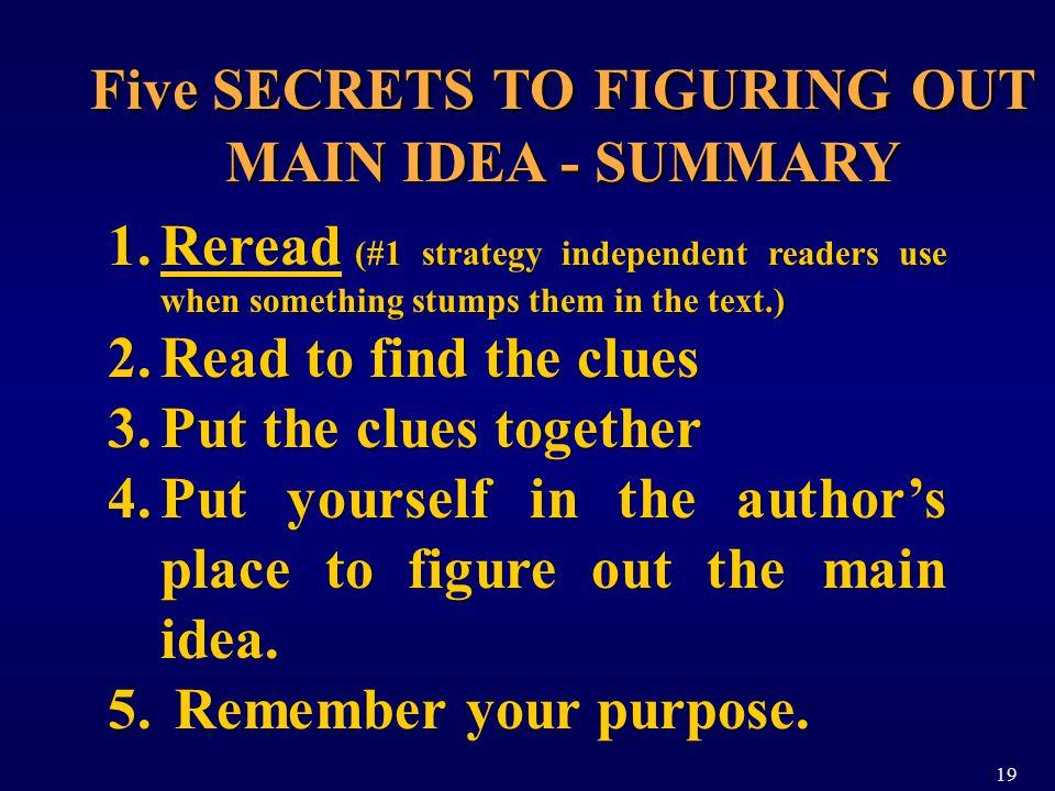 Five SECRETS TO FIGURING OUT MAIN IDEA - SUMMARY