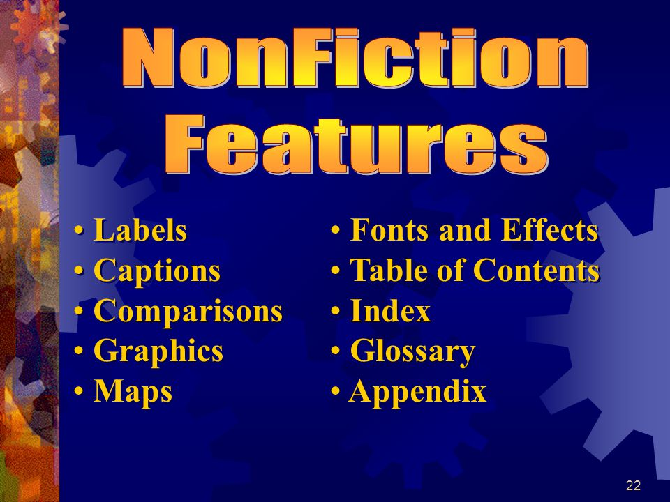 NonFiction Features Labels Captions Comparisons Graphics Maps