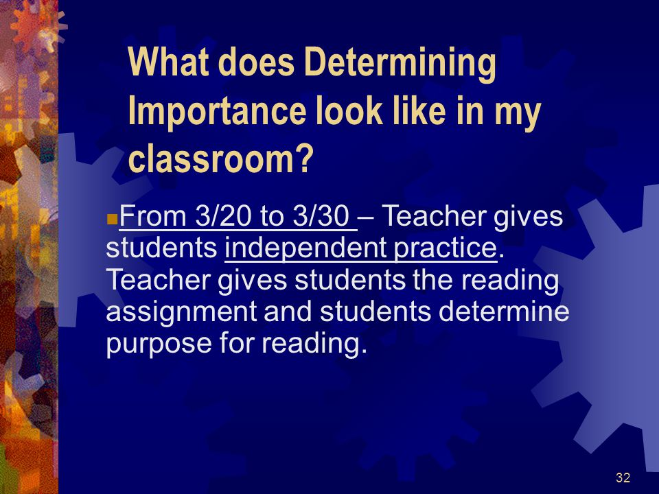 What does Determining Importance look like in my classroom