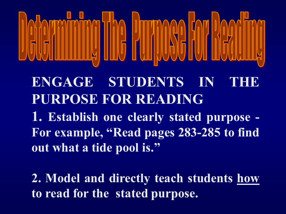 Determining The Purpose For Reading