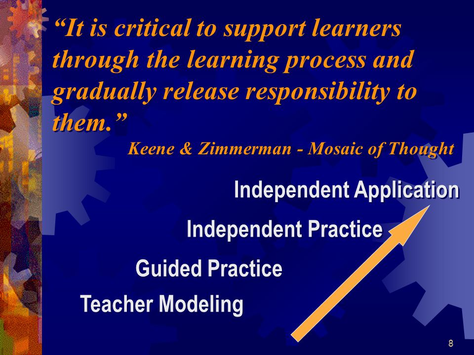 It is critical to support learners through the learning process and gradually release responsibility to them.