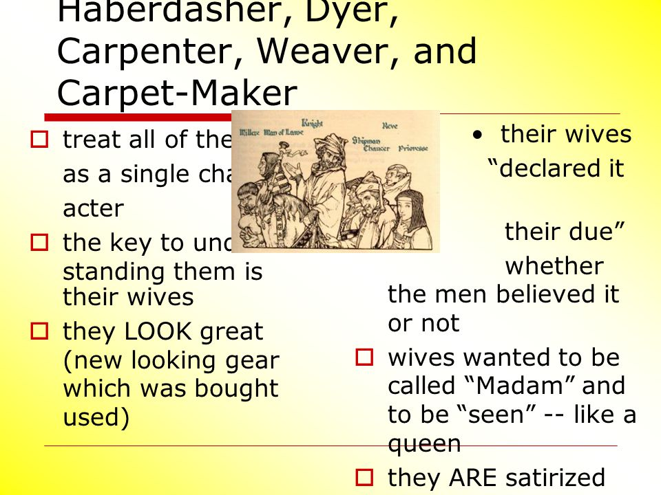Haberdasher, Dyer, Carpenter, Weaver, and Carpet-Maker
