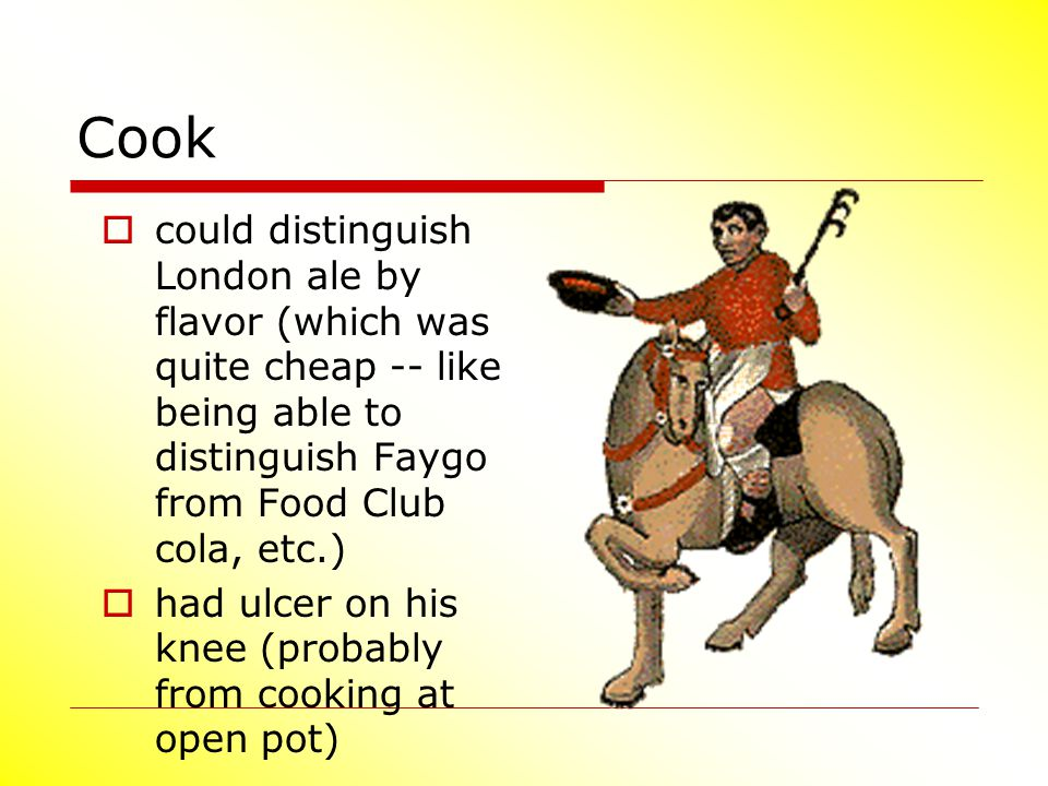 Cook could distinguish London ale by flavor (which was quite cheap -- like being able to distinguish Faygo from Food Club cola, etc.)